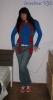 crveni šal s plavim šatiranim dodatkom :)
