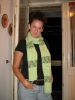 zeleni šal sa zelenim šatiranim dodatkom :)